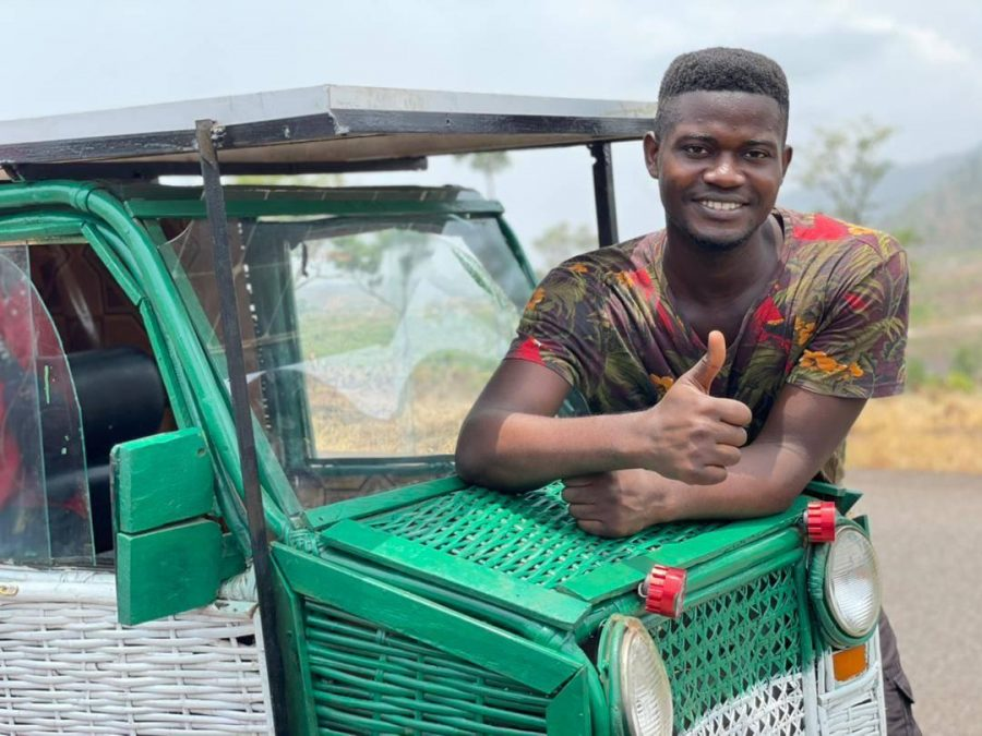 College Student and Self-Taught Engineer in Sierra Leone Builds Solar-Powered Car Out of Trash